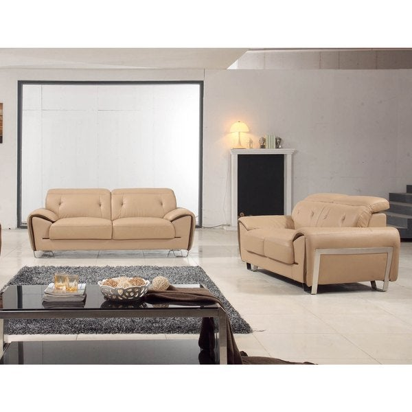 Luca Home Contrast Beige Sofa and Loveseat Set