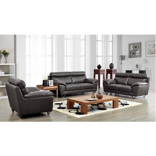 Luca Home Grey Sofa, Loveseat and Chair Set