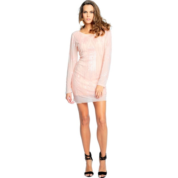 Sara Boo Women's Pink Long-Sleeve Backless Sequined Bodycon Dress