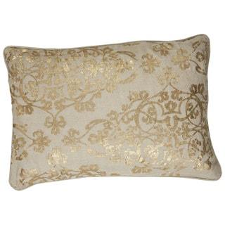 "Tribal Pattern Yellow/Ivory Linen Blend Throw Pillow (16""x24"")"