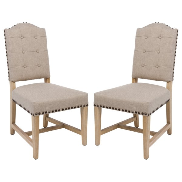 Safavieh Couture High Line Collection Penny Alder Beige Linen Side Chairs (Set of 2) 17263475