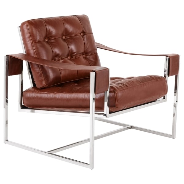 Safavieh Couture Collection Grange Vintage Dark Brown Leather Club Chair