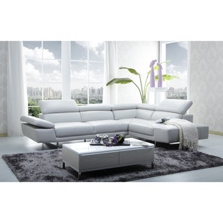 Safavieh Couture Collection Hayes Left Facing Stainless Steel Grey Leather Chaise Sectional