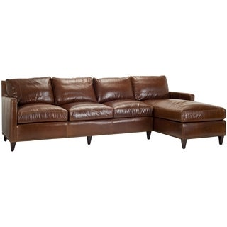 Safavieh Couture Collection York Sectional Right Facing Caramel Leather Chaise