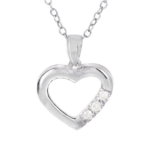 H Star Sterling Silver Three Stone Diamond Accent Heart Pendant