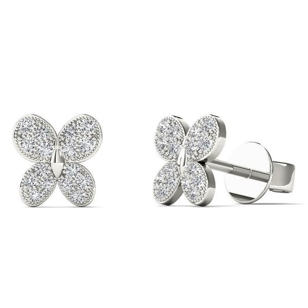 AALILLY 10k White Gold 1/10ct TDW Diamond Butterfly Stud Earrings 17263546