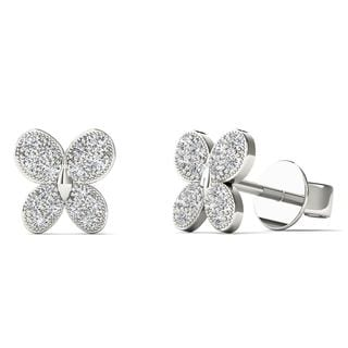10k White Gold 1/10ct TDW Diamond Butterfly Stud Earrings (H-I, I1-I2)