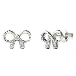 10k White Gold Diamond Accent Bow Stud Earrings (H-I, I1-I2)