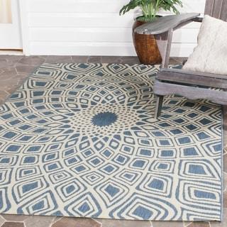 Safavieh Indoor/ Outdoor Courtyard Blue/ Beige Rug (4' x 5' 7)