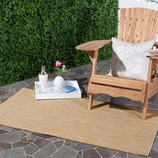 Safavieh Indoor/ Outdoor Courtyard Natural/ Cream Rug (4' x 5' 7)