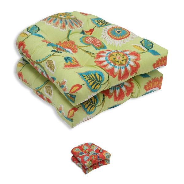 Pillow Perfect Outdoor/ Indoor Woodcourt Wicker Seat Cushion (Set of 2) 17263843