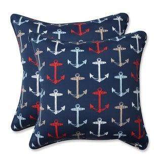 Pillow Perfect Outdoor/ Indoor Anchor Allover Arbor Navy 18.5-inch Throw Pillow (Set of 2)