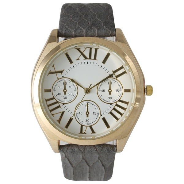 Olivia Pratt Classic Embossed Leather Strap Watch