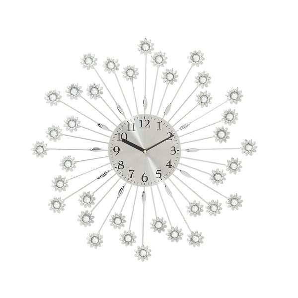 Silver Metal Acrylic 19-inch Wall Clock