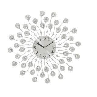 Silver Acrylic Metal 19-inch Wall Clock