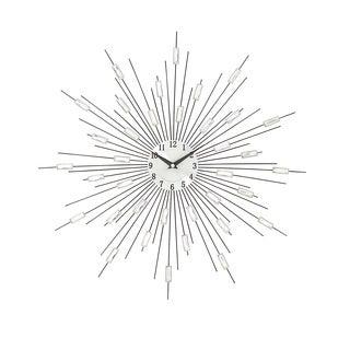 Silver Metal Acrylic Starburst Wall Clock
