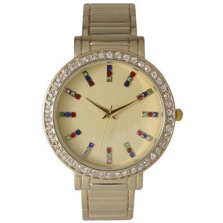 Olivia Pratt Rainbow Rhinestone Cuff Bracelet Watch