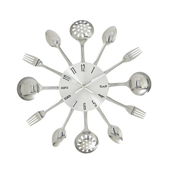 Silver Metal Kitchen Wall Clock
