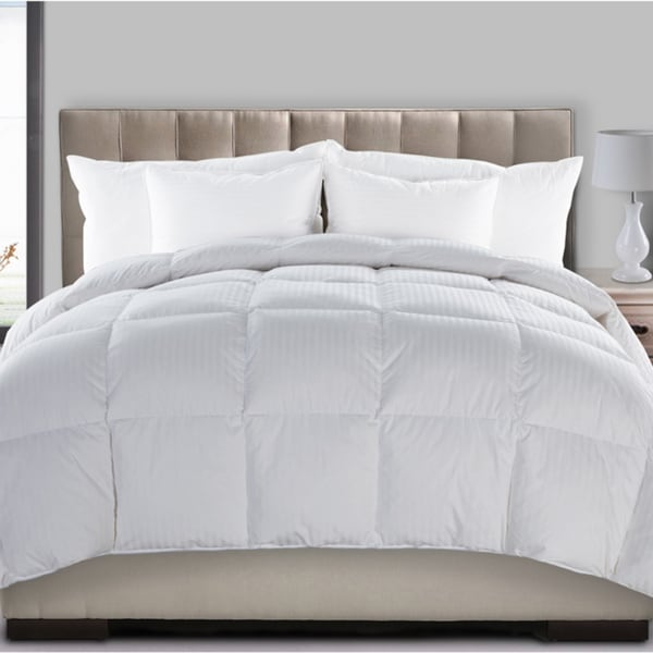 Medium Warmth Dobby Stripe 300 Thread Count Hyper Down and Feather Blend Comforter