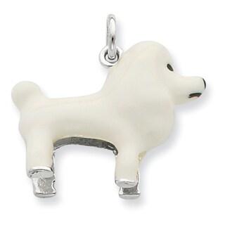 Sterling Silver White Enamel Poodle Pendant