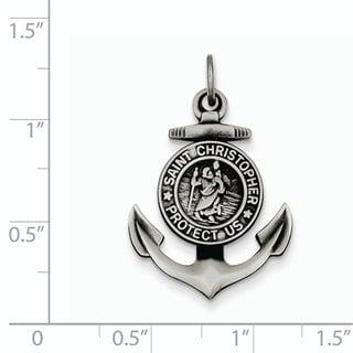 Versil Sterling Silver Satin St Christopher Anchor Medal Pendant