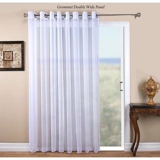 Tergaline Semi-Sheer Grommet 108-inch Wide Panel with Corded Weighted Hem and Attachable Pull Wand
