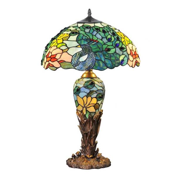 River of Goods Fantastic Feodora Multicolored Stained Glass/Antique Bronze Metal/Resin 26-inch Double-lit Table Lamp 17264430