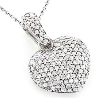 Luxurman 14k Gold 1/2ct TDW Diamond Small Pave Heart Pendant (G-H, SI1-SI2)