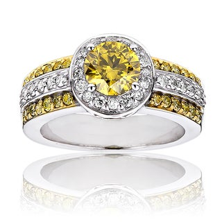 Luxurman 14k Gold 1 5/8ct TDW White and Yellow Diamond Halo Engagement Ring (G-H, SI1-SI2)