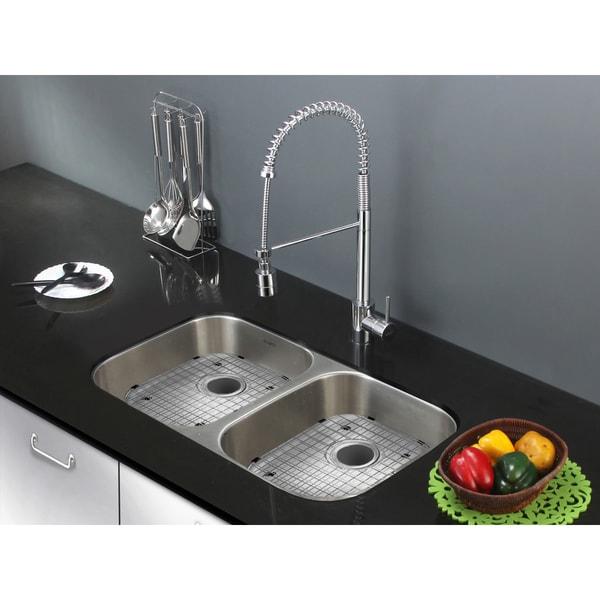 Shallow Undermount Sink : ... RVM4300ADA 32-inch Undermount ADA Compatible Double Bowl Kitchen Sink