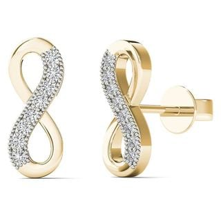 10k Yellow Gold Diamond Accents Infinity Stud Earrings (H-I, I1-I2)