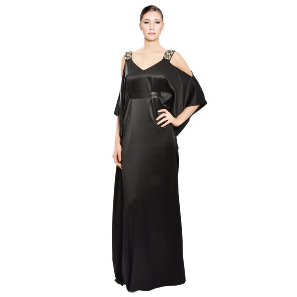 Badgley Mischka Black Draped Silk Evening Gown