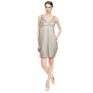 Doo.Ri Fascinating Silver Pleated Silk Cocktail Dress