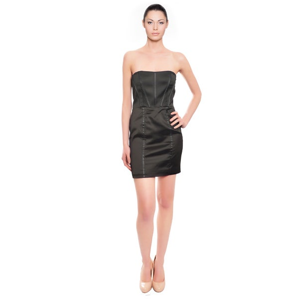 Alice & Olivia Stretch Fit Black Bustier Cocktail Dress