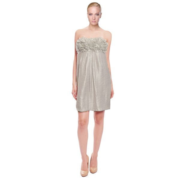Alexia Admor Silver Ruffle Party Cocktail Dress