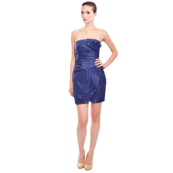 Catherine Malandrino Luxurious Pleated Strapless Cocktail Dress