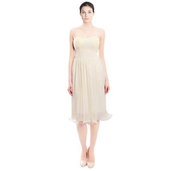 Candela NYC Anglelic Ivory Chiffon Pintuck Cocktail Dress