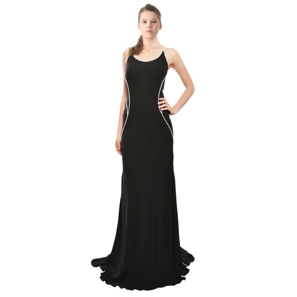 Cesar Galindo Mod Stretch Fit Jersey Knit Black White Fitted Gown