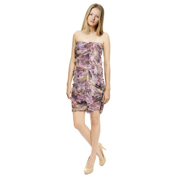 Elizabeth and James Abstract Print Silk Cocktail Dress