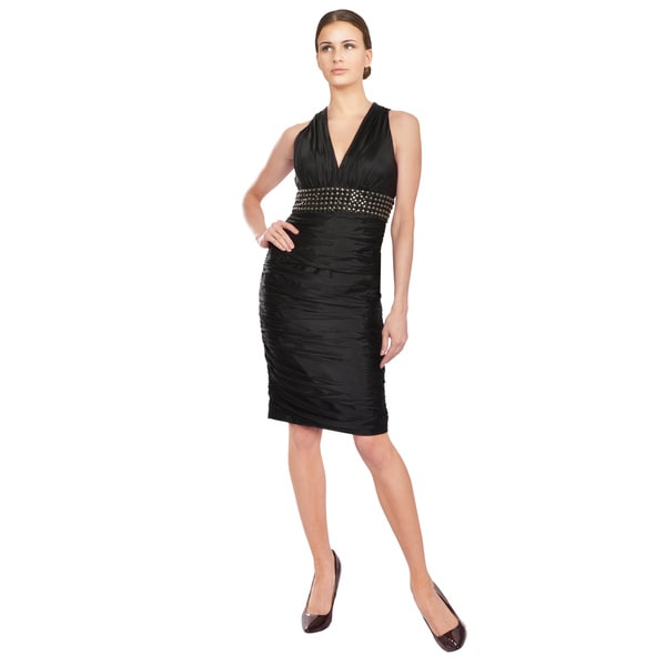 Carmen Marc Valvo Edgy Black Studded Silk Fitted Cocktail Dress