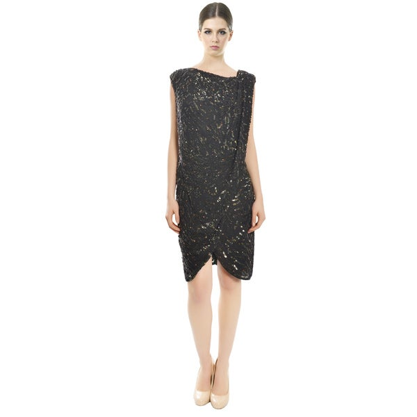 Derek Lam Decadent Black Sequins Cocktail Dress