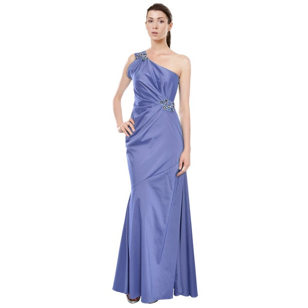 David Meister Sensuous Slate Blue One Shoulder Fitted Evening Gown