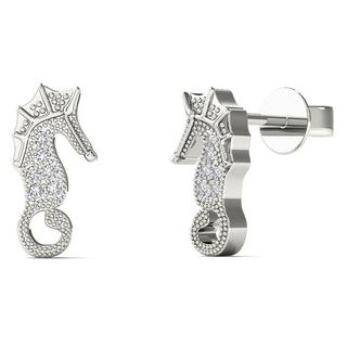 10k White Gold Diamond Accent Sea Horse Stud Earrings (H-I, I1-I2)