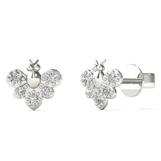 10k White Gold Diamond Accent Bumble Bee Stud Earrings (H-I, I1-I2)