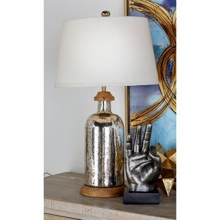 Glass Wood Table Lamp