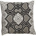 Tribal Pattern Gray/Black Viscose Throw Pillow 18-inch