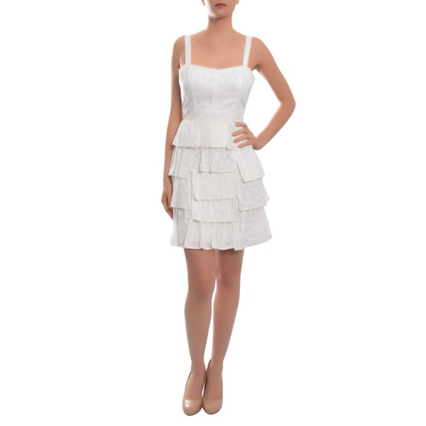 Cynthia Steffe Angelic Jacquard White Cotton Bustier Style Evening Dress