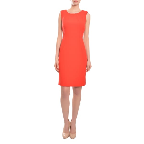 Chetta B Devine Red Fitted Silhouette Crepe Evening Cocktail Party Dress