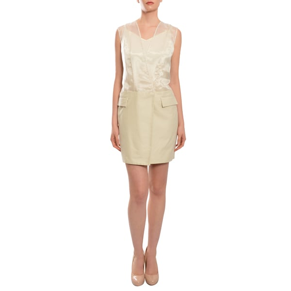 Christian Cota High Style Sheer Organza Ivory Cotton Wrap Dress