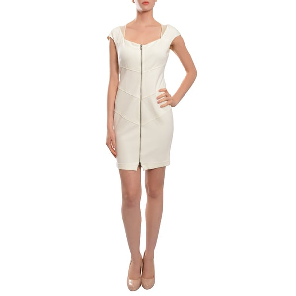 Catherine Malandrino Crisp White Ponte Knit Exposed Zip Front Dress